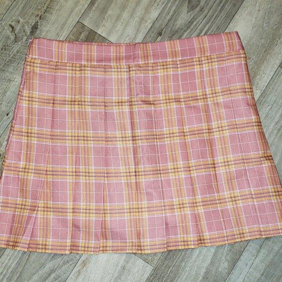Pink/Yellow Pleated Plaid/Tartan Skirt/Kilt